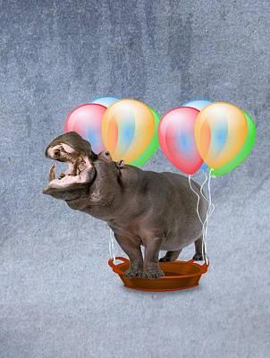 Jenna Thomas Wall Art - Digital Art - Happy Hippo by Jennifer Thomas