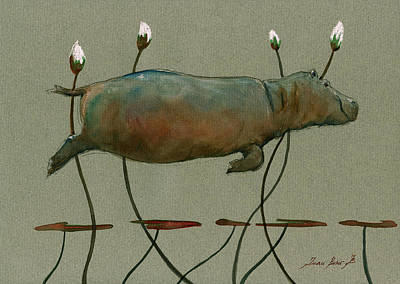 African Art Painting - Happy Hippo Swimming by Juan  Bosco