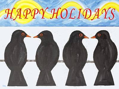 Wildlife Landscape Painting - Happy Holidays 110 by Patrick J Murphy