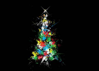 Digital Art - Happy Holidays - Abstract Tree - Horizontal by Ludwig Keck