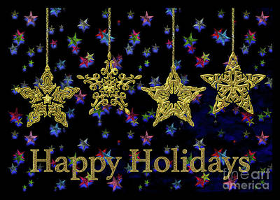 Digital Art - Happy Holidays - Christmas Stars by Gabriele Pomykaj