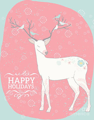 Digital Art - Happy Holidays Deer And Birds by Pam  Holdsworth