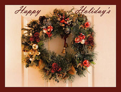 Photograph - Happy Holiday's Framed Card With Wreath by Sandra Huston