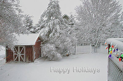 Shed Mixed Media - Happy Holidays Fresh Snow Fall In March by Thomas Woolworth