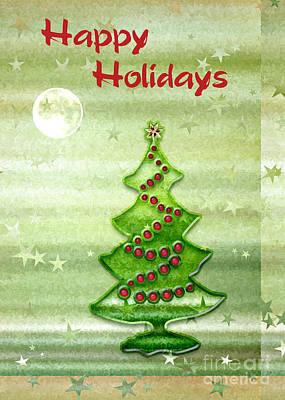 Digital Art - Happy Holidays Moon Stars And Tree by Gabriele Pomykaj