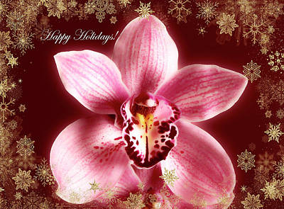 Photograph - Happy Holidays Orchid With Gold Snow by Johanna Hurmerinta