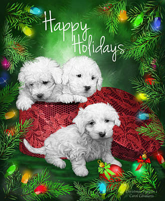 Mixed Media - Happy Holidays Puppies by Carol Cavalaris