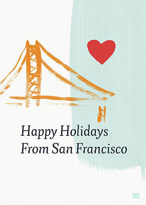 Mixed Media - Happy Holidays San Francisco- Art By Linda Woods by Linda Woods