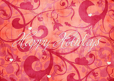 Peach Drawing - Happy Holidays Swirly Background by Maggie Terlecki