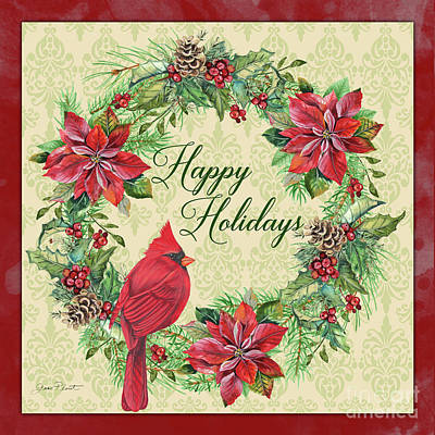 Painting - Happy Holidays Wreath by Jean Plout