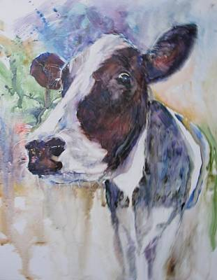 Brown Swiss Painting - Happy Holstein by Steven Henry