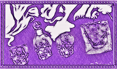Decanters Drawing - Invite To The Skulls Party by Debra Lynch