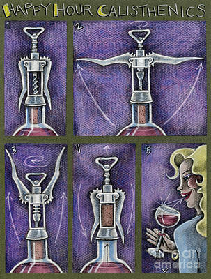 Drawing - Happy Hour Calisthenics by Valerie White