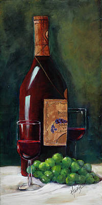 Wine Bottle Painting - Happy Hour  by Mary DuCharme