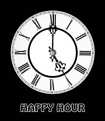 Happy Hour - On Black Print by Gill Billington