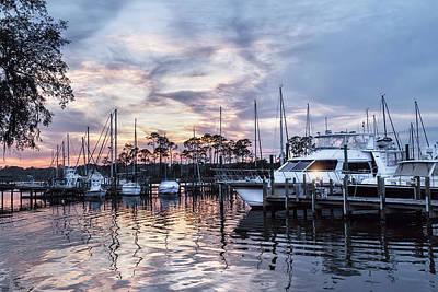 Happy Hour Sunset At Bluewater Bay Marina, Florida Art Print