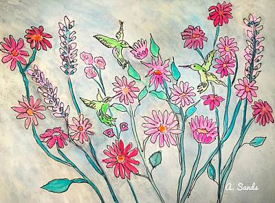 Painting - Happy Hummingbirds by Anne Sands