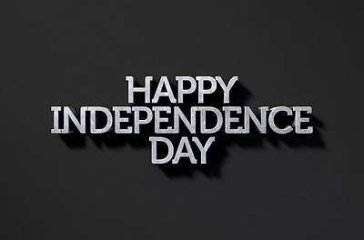 Happy Independence Day Text On Black Art Print