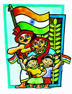 Indi Painting - Happy Indian Family  by Rejen