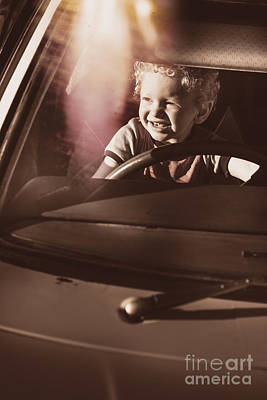 Play Pretend Photograph - Happy Kid Pretending To Drive Vintage Car by Jorgo Photography - Wall Art Gallery