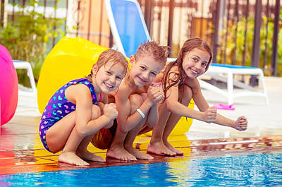 Photograph - Happy Kids Near The Pool by Anna Om