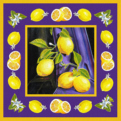 Italian Kitchen Painting - Happy Lemons Dance by Irina Sztukowski