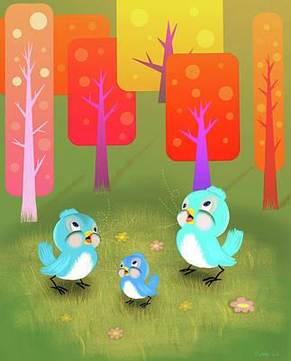 Happy Little Blue Birds Sing Art Print