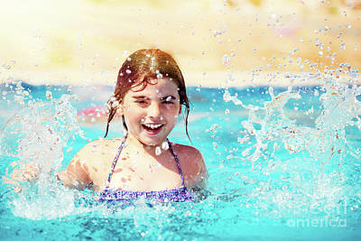 Photograph - Happy Little Girl In The Pool by Anna Om