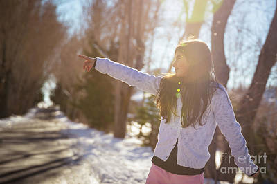 Photograph - Happy Little Girl In The Winter Park by Anna Om