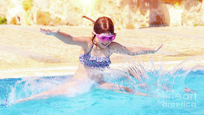 Photograph - Happy Little Girl Jumping To The Pool by Anna Om