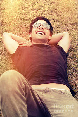Candid Photograph - Happy Man Laughing While Enjoying Summer Holidays by Jorgo Photography - Wall Art Gallery