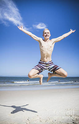Exuberant Photograph - Happy Man Star Jumping On The Australia Beach by Jorgo Photography - Wall Art Gallery