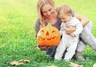 Photograph - Happy Mother With Baby In Halloween Holiday by Anna Om