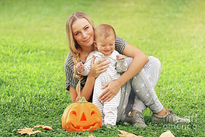 Photograph - Happy Mother With Baby Outdoors by Anna Om