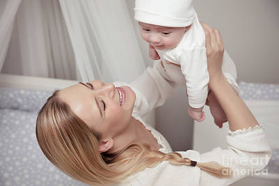 Photograph - Happy Mother With Her Baby by Anna Om
