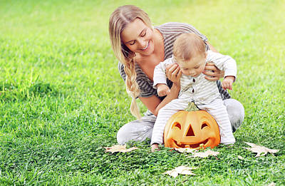Photograph - Happy Mother With Son Celebrate Halloween by Anna Om
