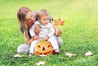 Photograph - Happy Mother With Son Celebrates Halloween by Anna Om