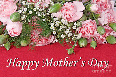Photograph - Happy Mothers Day And Pink Carnations by Vizual Studio