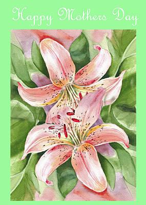 Day Lily Wall Art - Painting - Happy Mothers Day Lily by Irina Sztukowski