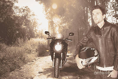 Happy Motorbike Man On Outback Australia Adventure Print by Jorgo Photography - Wall Art Gallery