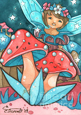 Christi Brown Painting - Happy Mushrooms Aceo by Christi Brown