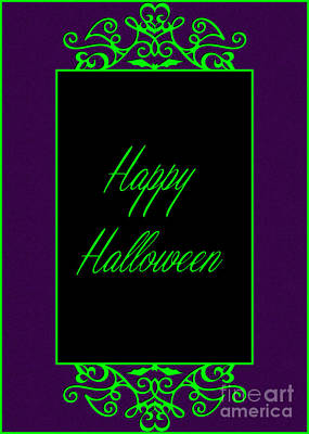 Digital Art - Happy Neon Halloween by JH Designs