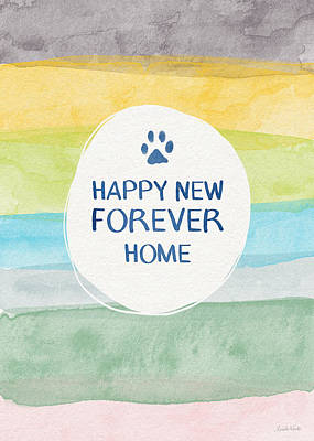 Rescue Pet Mixed Media - Happy New Forever Home- Art By Linda Woods by Linda Woods