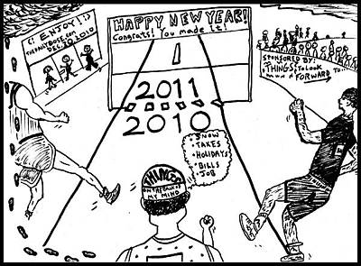 Thedailydose.com Drawing - Happy New Year 2010 - 2011 Crossing Line Thoughts by Yasha Harari