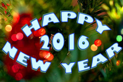 Photograph - Happy New Year 2016 Card by Gene Walls