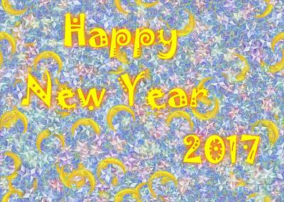 Digital Art - Happy New Year 2017 by Jean Bernard Roussilhe