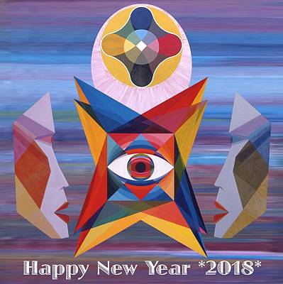 Painting - Happy New Year 2018 by Michael Bellon