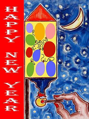 Fireworks Painting - Happy New Year 47 by Patrick J Murphy