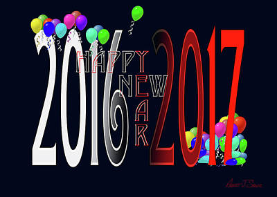 Happy New Year Card With Ballons Art Print by Robert J Sadler