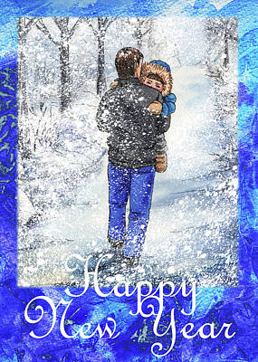 Painting - Happy New Year From Daddy And Son by Irina Sztukowski